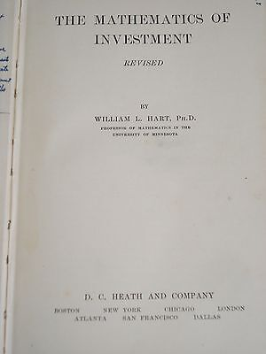 THE MATHEMATICS OF INVESTMENT 1929 Beginning of The Great Depression Era Book