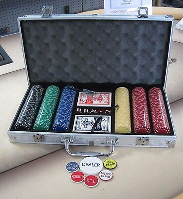 300ct Poker Super Diamond Chip Set W/ Dice Decks Dealer Kit & Silver Case Keys*