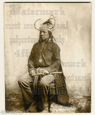 Chief LITTLE BEAR - Original Photograph - Cree Indian - sitting - pipe - native