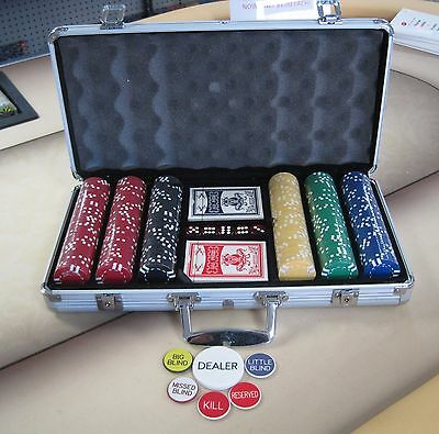 300 Chips Poker Six Stripe Chip Set W/ Dice Decks Dealer Kit & Silver Case Keys*
