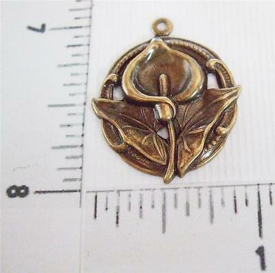 30333        3 Pc.- Brass Oxidized Victorian Calla Lily Charm Finding