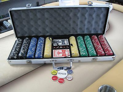 500 Chips Poker Six Stripe Chip Set W/ Dice Decks Dealer Kit & Silver Case Keys*