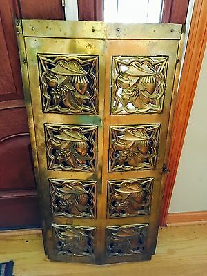 Antique VTG Brass iron ORNATE  DOOR FIRPLACE WOOD STOVE DECOR GARDEN Rare Wow