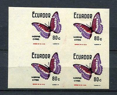 Ecuador 1964 Block of 4 Proof/Assay  black double impesion fillers MNH