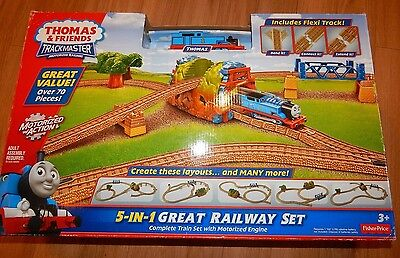 Thomas and Friends Motorized TrackMaster 5-in-1 Great Railway Train NIB