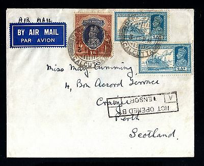 14162-INDIA-AIRMAIL CENSOR COVER CALCUTA to PERTH(england)1940.WWII.BRITISH.Inde