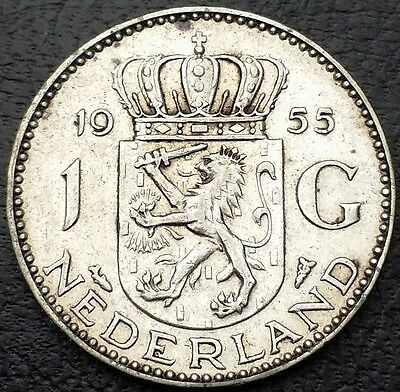 NETHERLANDS: 1955 1 Gulden .720 Silver Coin, KM# 184 - Free Combined S/H