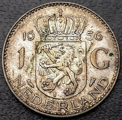 NETHERLANDS: 1956 1 Gulden .720 Silver Coin, KM# 184 - Free Combined S/H