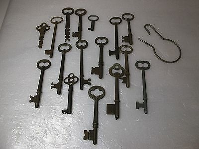 Collection of 16 Different  Antique Skeleton Keys