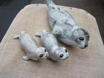 Large Mom 2 Baby Seals Sculpture  Andersen Pottery Stoneware Figurine Signed Set