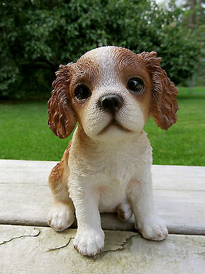 """King Charles Spaniel Puppy Dog Sitting Figurine Resin Pet Ornament New 6"""" Gift"""