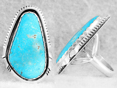 Navajo Ring Turquoise Size 6½ Kingman Sterling Silver Native American Indian