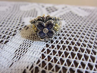 Barbara Bixby Flower Iolite Topaz Ring Sterling & 18K Gold Size 8 Jezzabel New