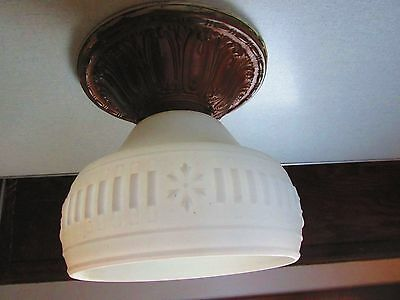 Vintage Art Deco Antique Ceiling Custard Glass Light Shade and Brass Canopy