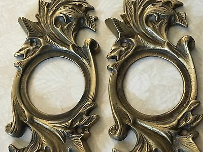 Antique Brass Ornate Door Plates Pair made in Italy Signed