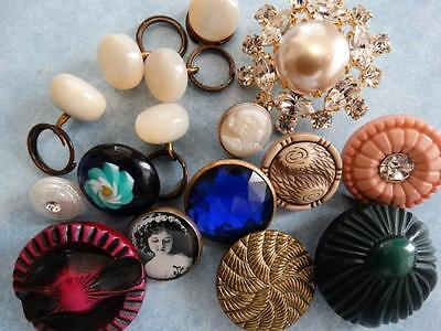 AWESOME LOT ANTIQUE & NEW VINTAGE BUTTONS Celluloid Buffed Pearl Glass Lampwork