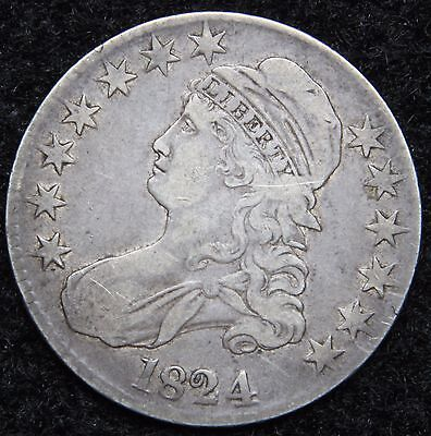1824 Capped Bust Half Dollar 50 Cents - Nice Coin Free Shipping (5249)