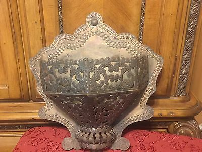 Antique Pierced & Stamped Metal Tin or? Wall Sconce Candleholder Primitive