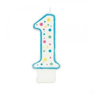 Wilton Number 1 Numeral Candle Birthday Cake Blue Trim & Polka Dots 3x1.5x0.5""