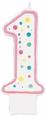 "Wilton 3"" Pink Polka Dot Numeral 1 Decorative Party Baby Birthday Cake Candle"