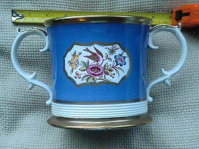 Antique Staffordshire .pottery.cider.mug./loving Cup.decorated With Birds.