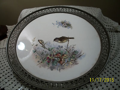 Antique Metal & Porcelain Charger Plate Birds AS FOUND