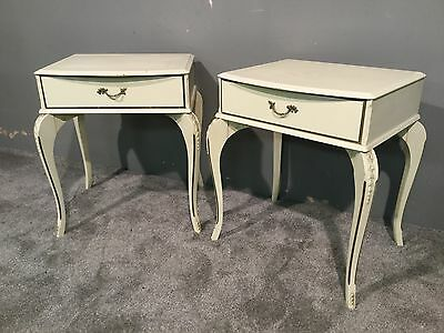 Vintage Ornate Cream Pair 2 Two Bedside Tables Cabinet Drawers Storage