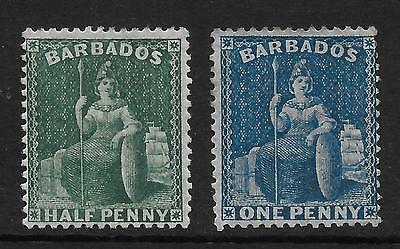 BARBADOS  SG 65/6  1874/5 WMK LARGE STAR PERF 14   1/2d & 1d  FINE MOUNTED MINT