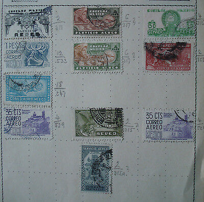 Collection of 11 x old Mexico stamps,  on album page