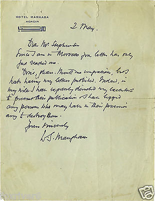 W SOMERSET MAUGHAM Signed Letter - Author / Writer / Literature - reprint