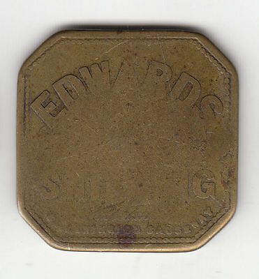 Gb Edwards Brass Square Shilling Token C1900    132D       By Coinmountain