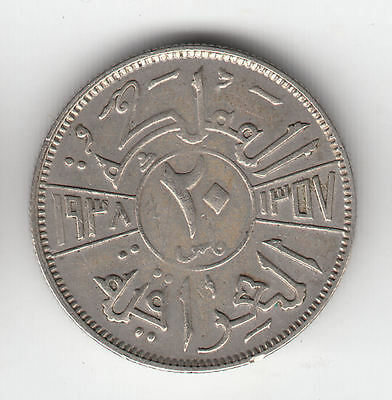 Middle East Silver 20 Fils 1938I     107D              By Coinmountain