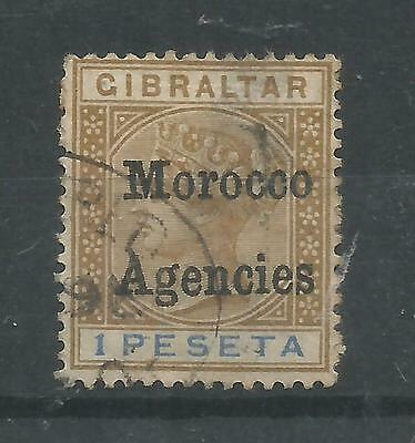 Arcade 99p Morocco Agencies 1 Peseta Overprint Used Issue