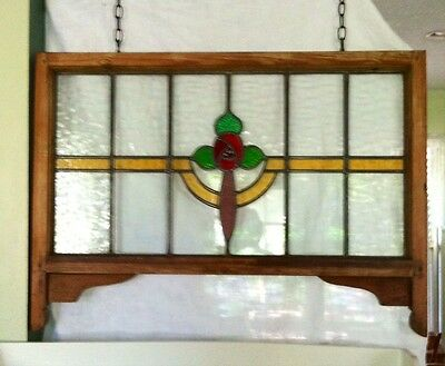 Antique Praire Style Leaded Stained Glass Window One Of Two Available For Sale
