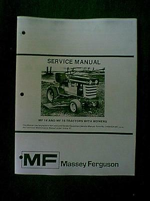 Massey Ferguson Models Mf14 & Mf16 Tractor Service Manual