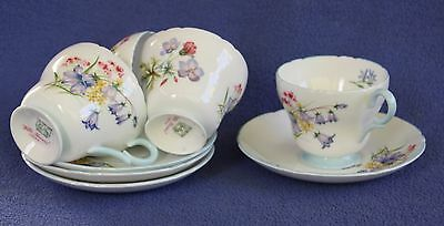 """Shelley """"Wild Flowers"""" coffee cups and saucers (4)"""