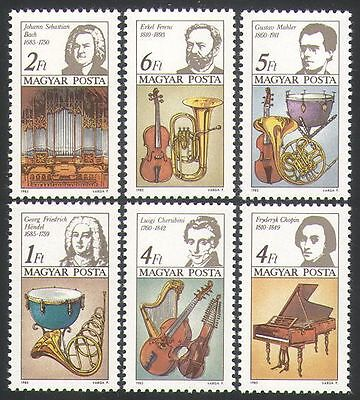 Hungary 1985 Music/Composers/People/Instruments/Bach/Chopin/Erkel 6v set n34947