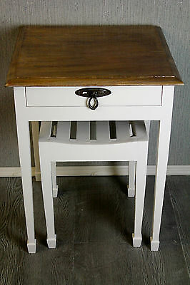 solid oak antique table and stool shabby chic painted farrow and ball blackened