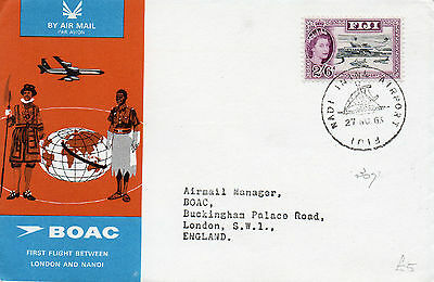 1965 Fiji BOAC First Flight to London bearing 2/6 stamp