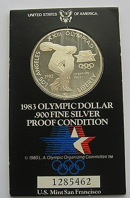 USA Olympic Silver 1 Dollar 1983 S Proof Mint Package !!