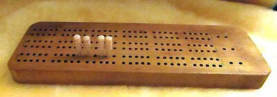 Vintage Cribbage Board Handmade One Of A Kind Wooden Pegs