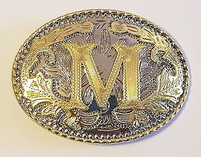 "Initial "" M ""  Rodeo Cowboy Letter Shine Gold Silver Western Belt Buckle"