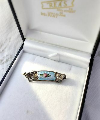 Vintage Hallmarked Sterling Silver Pin Brooch Art Nouveau Floral Bar Painted