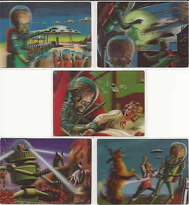 """Mars Attacks Heritage - """"Magic of 3-Dimension"""" Lenticular Set of 5 Chase Cards"""