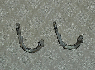 2 Antique Cast Iron Coat Single Hooks Acorns