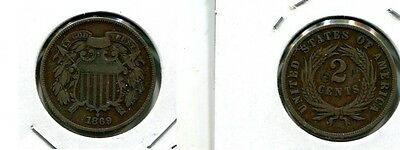 1869 Two Cent Piece Type Coin Vg 2512J
