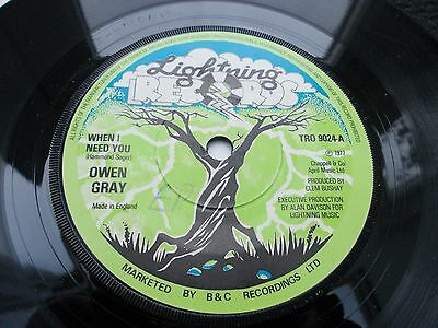 Owen Gray - When I Need You 7' 1977 Lightning Vg+ Listen