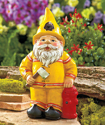 Ceramic Firefighter Gnome figurine with hydrant and axe