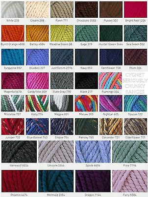 Cygnet Seriously Chunky - Prints - Mixes - Mythically Wool Yarn ( FREE POSTAGE )