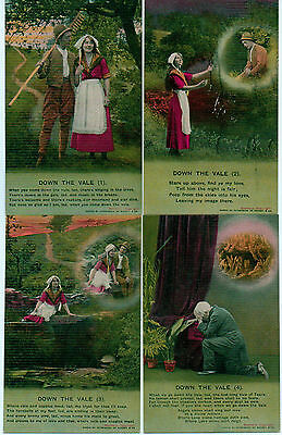 Set Of 4 Bamforth Song Series No 4672 Down The Vale